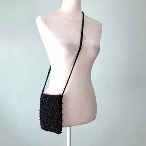 Beaded Crossbody Bag Black Zip Closure